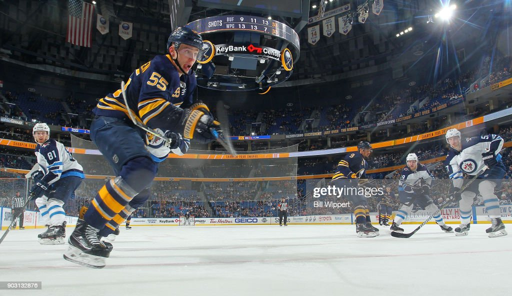 Rasmus Ristolainen #55 of the Buffalo Sabres skates against the Winnipeg Jets during an NHL game on January 9, 2018 at KeyBank Center in Buffalo, New York. Winnipeg won, 7-4.