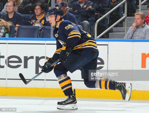 Rasmus Ristolainen of the Buffalo Sabres skates during an NHL game against the Vancouver Canucks on October 20 2017 at KeyBank Center in Buffalo New...