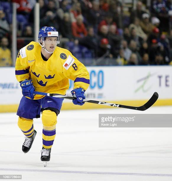 Rasmus Sandin of Sweden skates against Switzerland during a quarterfinal game at the IIHF World Junior Championships at the SaveonFoods Memorial...