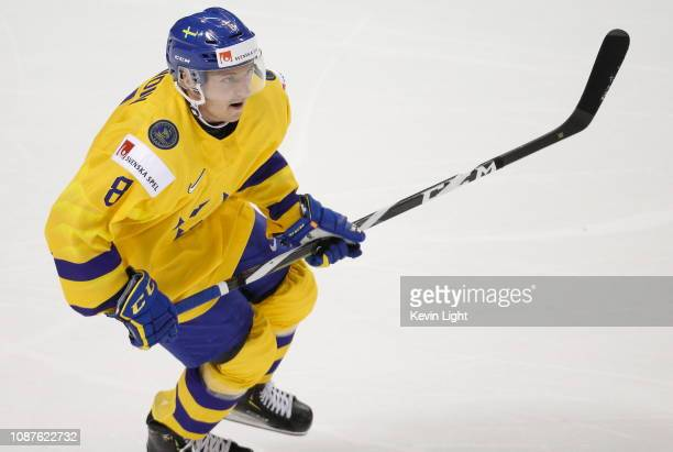 Rasmus Sandin of Sweden versus Finland at the IIHF World Junior Championships at the SaveonFoods Memorial Centre on December 26 2018 in Victoria...