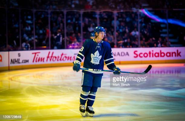 Rasmus Sandin of the Toronto Maple Leafs skates during player introductions before playing the Vancouver Canucks at the Scotiabank Arena on February...