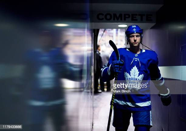 Rasmus Sandin of the Toronto Maple Leafs walks to the dressing room before playing the Montreal Canadiens at the Scotiabank Arena on October 5 2019...
