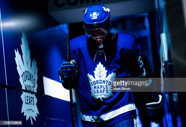 Rasmus Sandin of the Toronto Maple Leafs walks to the dressing room before playing the Carolina Hurricanes at the Scotiabank Arena on February 22...