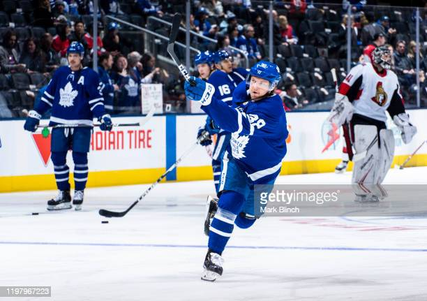 Rasmus Sandin of the Toronto Maple Leafs warms up before facing the Ottawa Senators at the Scotiabank Arena on February 1 2020 in Toronto Ontario...