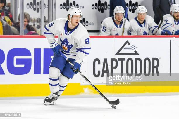 Rasmus Sandin of the Toronto Marlies in control of the puck against the Laval Rocket at Place Bell on March 6 2019 in Laval Quebec
