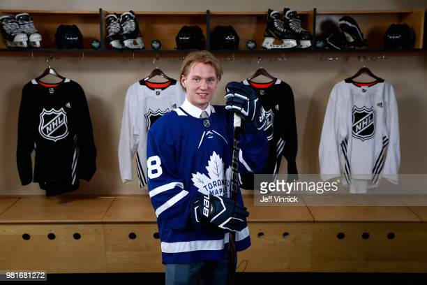 Rasmus Sandin poses for a portrait after being selected twentyninth overall by the Toronto Maple Leafs during the first round of the 2018 NHL Draft...