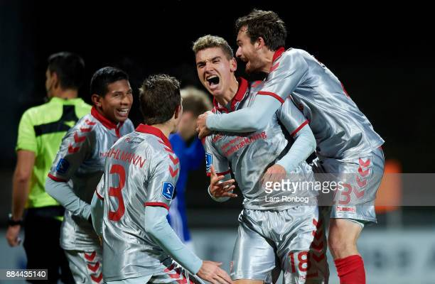Rasmus Thellufsen of AaB Aalborg celebrates after scoring their second goal during the Danish Alka Superliga match between Lyngby BK and AaB Aalborg...