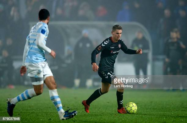 Rasmus Thellufsen of AaB Aalborg controls the ball during the Danish Alka Superliga match between FC Helsingor and AaB Aalborg at Helsingor Stadion...