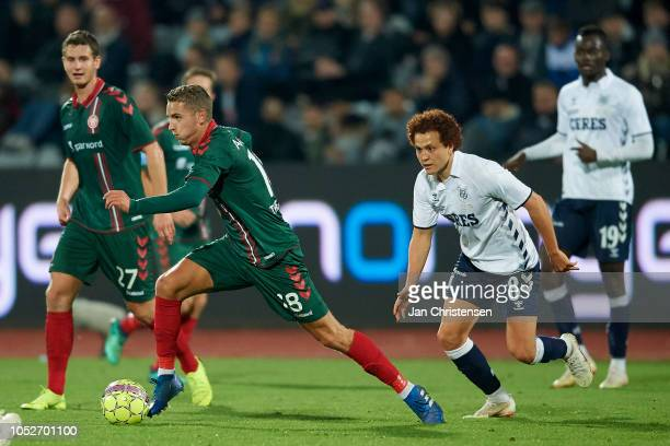Rasmus Thellufsen of AaB Aalborg in action during the Danish Superliga match between AGF Arhus and AaB Aalborg at Ceres Park on October 21 2018 in...