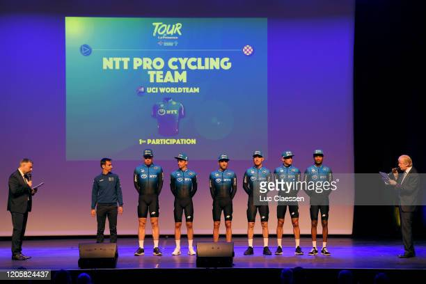 Rasmus Tiller of Norway and Team NTT Pro Cycling / Amanuel Ghebreigzabhier of Eritrea and Team NTT Pro Cycling / Danilo Wyss of Switzerland and Team...