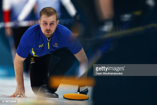 Rasmus Wrana of Sweden competes in the Curling Men's Round Robin Session 4 held at Gangneung Curling Centre on February 16 2018 in Gangneung South...
