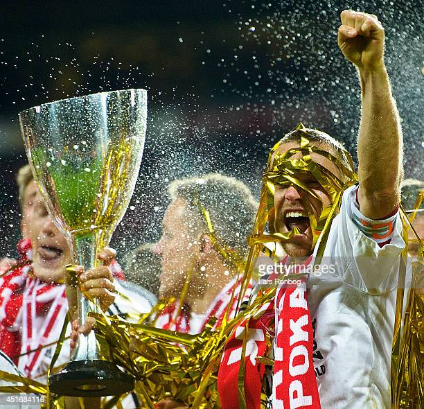 Rasmus Würtz of AaB Aalborg lifts the trophy after the DBU Pokalen Cup Final match between AaB Aalborg and FC Copenhagen in Parken Stadium on May 15...