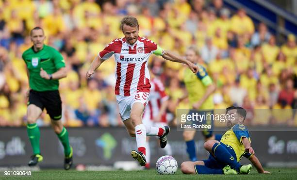 Rasmus Wurtz of AaB Aalborg and Besar Halimi of Brondby IF compete for the ball during the Danish Alka Superliga match between Brondby IF and AaB...