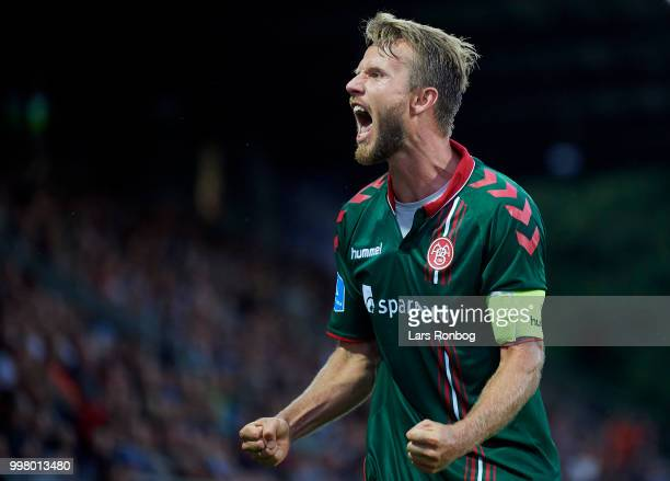Rasmus Wurtz of AaB Aalborg celebrates after scoring their first goal during the Danish Superliga match between Sonderjyske and AaB Aalborg at...