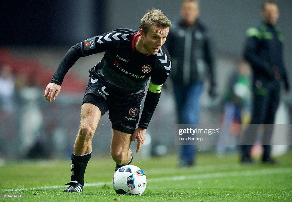 Rasmus Wurtz of AaB Aalborg controls the ball during the Danish Alka Superliga match between FC Copenhagen and AaB Aalborg at Telia Parken Stadium on March 13, 2016 in Copenhagen, Denmark.