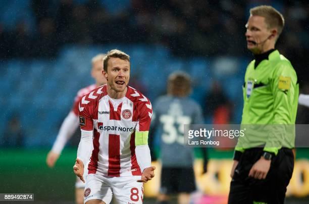 Rasmus Wurtz of AaB Aalborg shows frustration against Referee Jorgen Daugbjerg Burchardt during the Danish Alka Superliga match between AaB Aalborg...