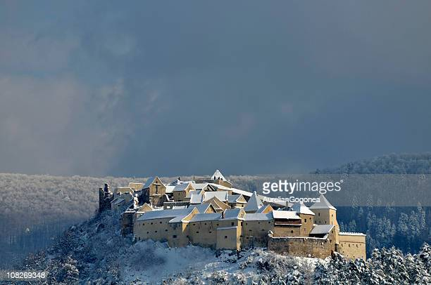 rasnov castle in romania covered with snow - transylvania stock pictures, royalty-free photos & images