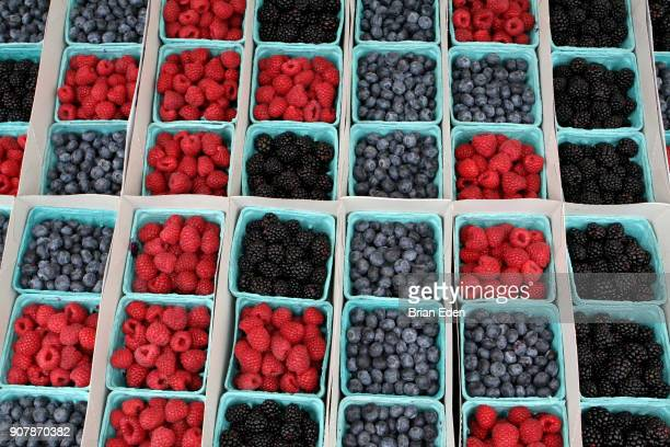 Raspberries, blueberries and blackberries for sale at a farmer's market in Manhattan Beach, California