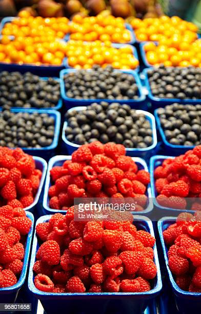 Raspberries, blueberries and cape gooseberries