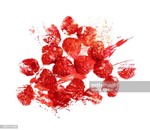 raspberries illustration - illustration stock pictures, royalty-free photos & images