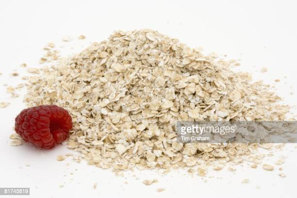 Raspberry and porridge rolled oats London England United Kingdom