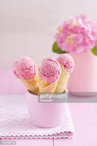 Raspberry icecream in homemade ice cream cones