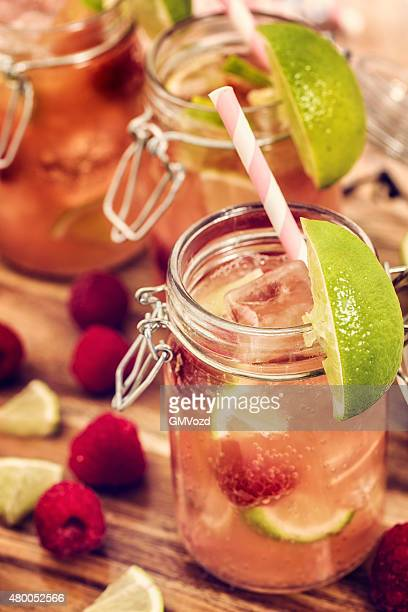 Raspberry Lime Cocktail Served in a Jar