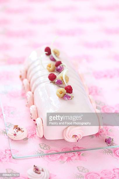 Raspberry lychee and rose yule log cake