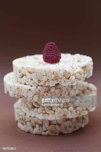 Raspberry on top of rice cakes