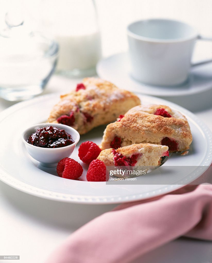 Raspberry scones : Stock Photo