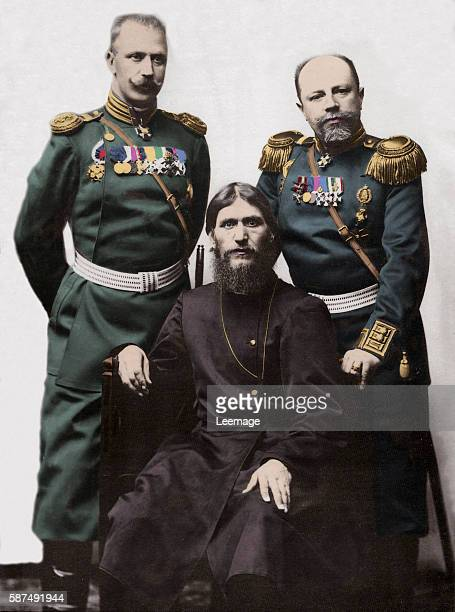Rasputin the influential Russian mystic and peasant with Captain von Lohman of the Ismailovsky Regiment and Colonel Prince Putyatin Chamberlain of...