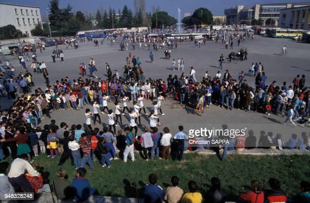 Rassemblement lors de la fête de la Démocratie à Tirana le 22 mars 1994 Albanie