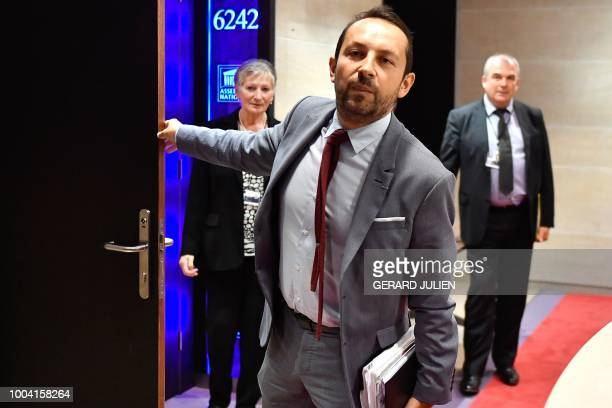 Rassemblement national Sebastien Chenu holds the door to room 6242 prior to the arrival of France's Interior Minister who will appear before the Law...