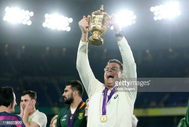 Rassie Erasmus, Head Coach of South Africa celebrates with the Web Ellis Cup following their victory against England in the Rugby World Cup 2019...