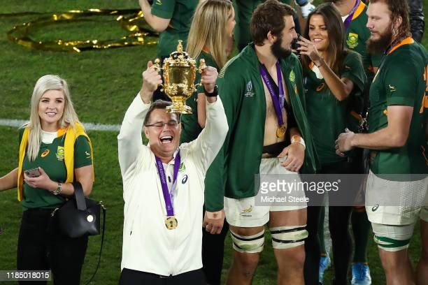 Rassie Erasmus Head Coach of South Africa lifts the Web Ellis cup following his team's victory against England in the Rugby World Cup 2019 Final...