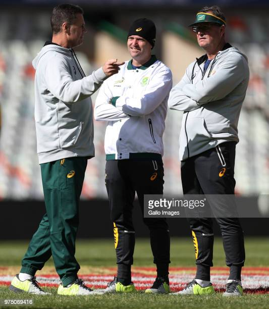 Rassie Erasmus of South Africa with Jacques Nienaber of South Africa and Swys de Bruin and Emirates Lions head coach during the South Africa...