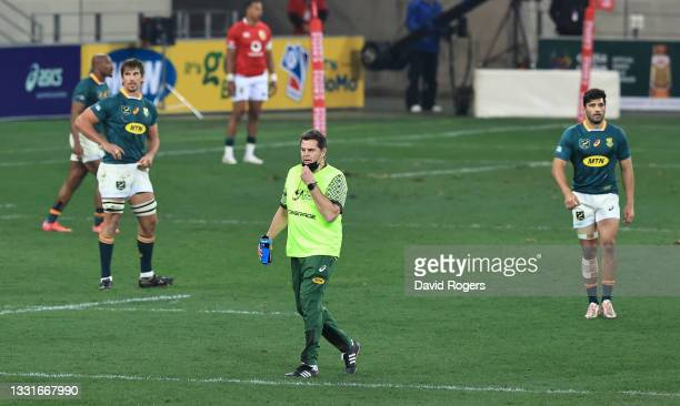 Rassie Erasmus, the Springboks director of rugby acting as a water carrier looks on during the 2nd test match between South Africa Springboks and the...