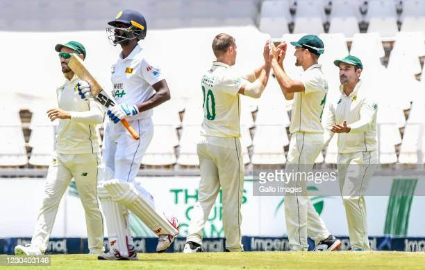 Rassie Van Der Dussen of South Africa celebrates a catch from Anrich Nortjes delivery that dismissed Minod Bhanuka of Sri Lanka during day 1 of the...
