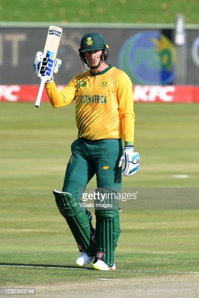 Rassie van der Dussen of the Proteas goes to his 50 during the 4th KFC T20 International match between South Africa and Pakistan at SuperSport Park...