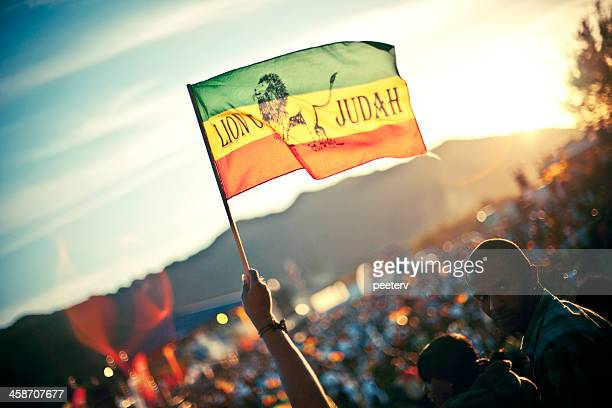 rasta flag against sunlight. - reggae stock photos and pictures