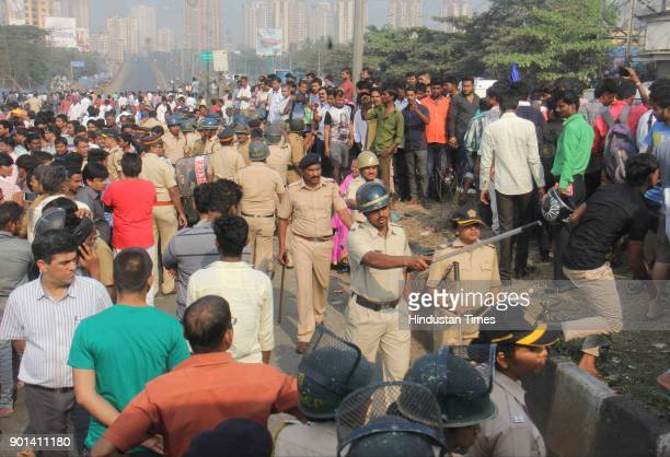 Rasta Roko by Dalit protesters during Maharashtra Bandh at Western Express Highway they demand arrested of Sambhaji Bhide and Milind Ekbote on...