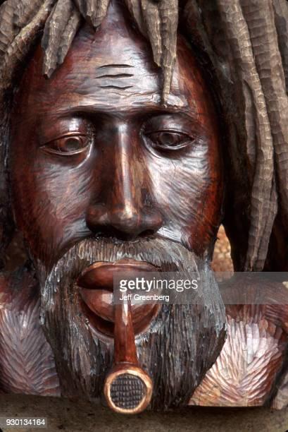 Rastafarian head carving for sale at Dunn's River Falls Ocho Rios Jamaica