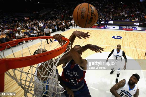 Rasual Butler of Power defends against Dominic McGuire of Tri State during week eight of the BIG3 three on three basketball league at Staples Center...