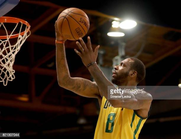 Rasual Butler of the Ball Hogs attempts a shot against the Power during week five of the BIG3 three on three basketball league at UIC Pavilion on...