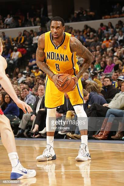 Rasual Butler of the Indiana Pacers handles the ball against the Detroit Pistons at Bankers Life Fieldhouse on April 2 2014 in Indianapolis Indiana...