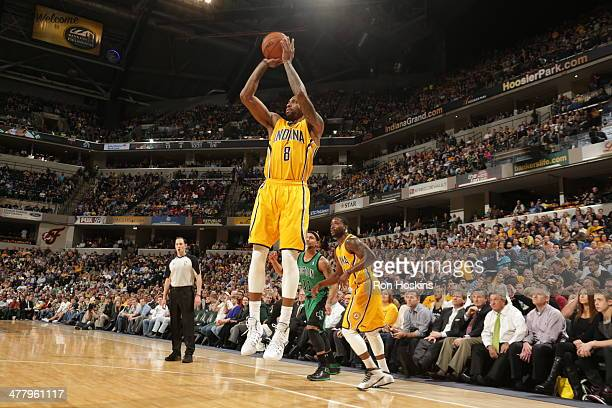 Rasual Butler of the Indiana Pacers shoots against the Boston Celtics at Bankers Life Fieldhouse on March 11 2014 in Indianapolis Indiana NOTE TO...