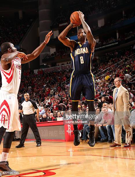 Rasual Butler of the Indiana Pacers shoots the ball against the Houston Rockets on March 7 2014 at the Toyota Center in Houston Texas NOTE TO USER...
