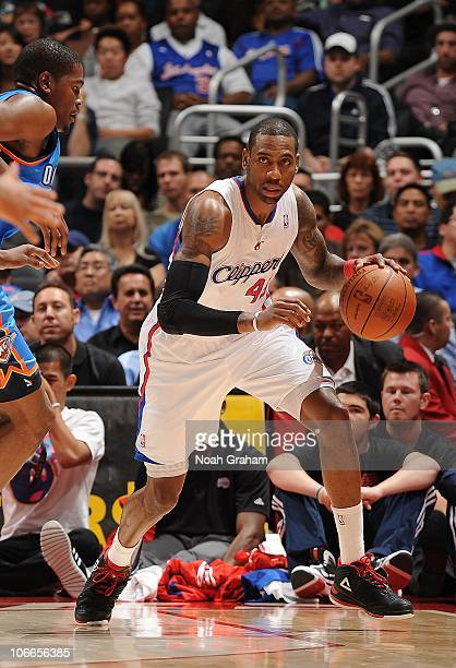 Rasual Butler of the Los Angeles Clippers controls the ball during a game against the Oklahoma City Thunder at Staples Center on November 3 2010 in...