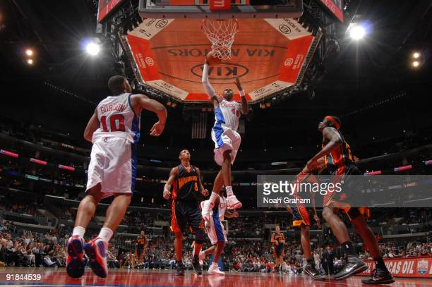 Rasual Butler of the Los Angeles Clippers goes up for a dunk against the Golden State Warriors at Staples Center on October 12 2009 in Los Angeles...