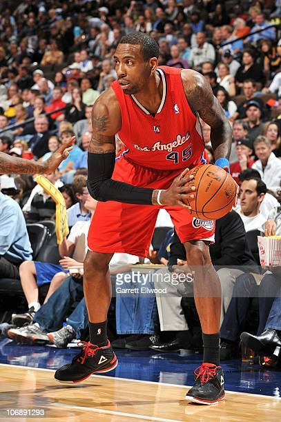 Rasual Butler of the Los Angeles Clippers handles the ball against the Denver Nuggets during a game on November 5 2010 at the Pepsi Center in Denver...